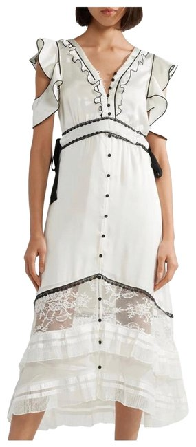 Item - Black and White Cut-out Lace Paneled Satin Midi Long Cocktail Dress Size 4 (S)