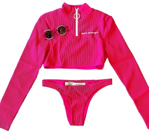 Off-White™ Off-white Pink Ribbed Knit Zip Long Sleeves Two-piece Swimsuit Set