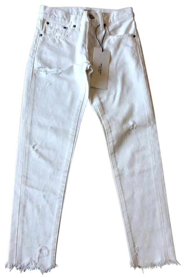 fd839ae64f6fd MOUSSY White Distressed Vintage Kelley Tapered Crop Skinny Jeans Size 00  (XXS, 24) 44% off retail