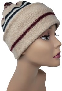 Burberry Beige red multicolor Burberry Bobble printed hat
