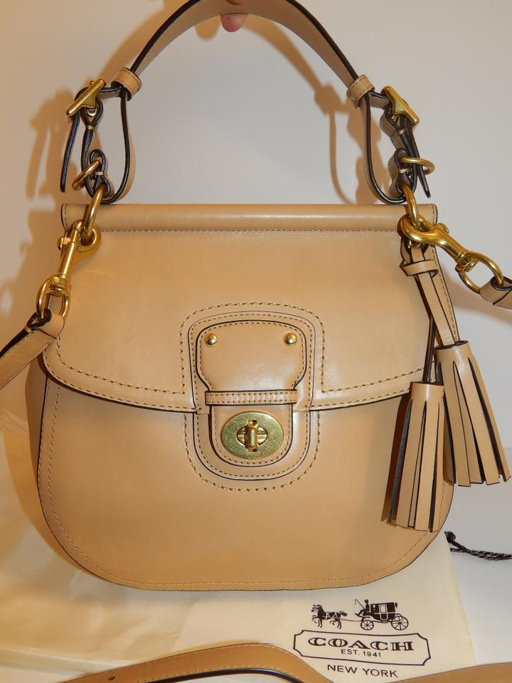 durable modeling nice shoes factory Coach Willis 22382 Legacy Turnlock Tan Leather Cross Body Bag