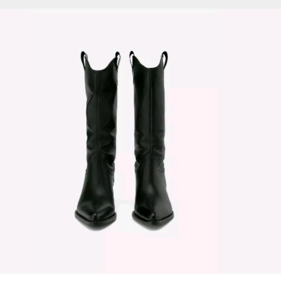 f176919bd6c Zara New with Tags Black Leather Cowboy Heeled Boots/Booties Size US 6.5  Regular (M, B)