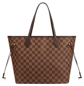 Louis Vuitton Neverfull Mm Neverfull Ebene Rose Ballerine Tote in Damier Red