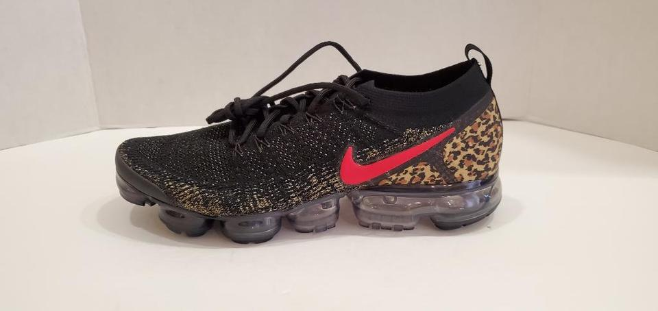 0ddd500aed6fae Nike Black New Air Vapormax Flyknit 2 Cheetah Print Gold Bv6117 001 Wmns  Sneakers