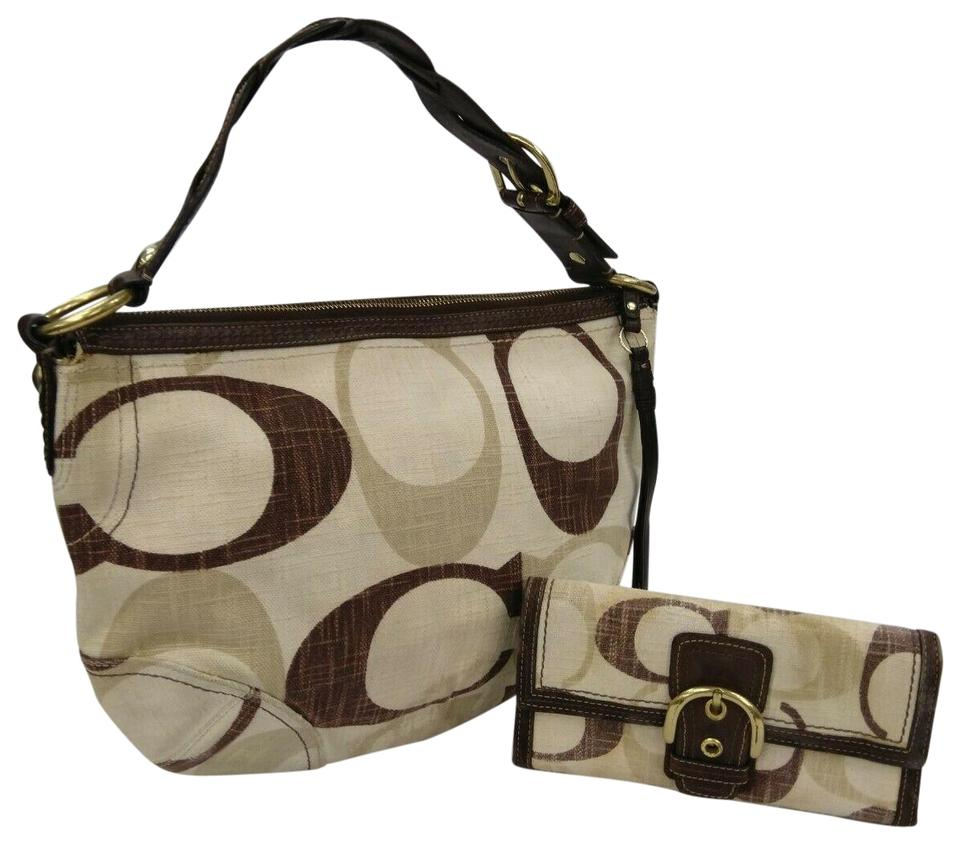 a9c649f7c45f Coach 1941 Set Of Signature Tonal Carly Purse Braided Multicolor Canvas  Leather Hobo Bag 70% off retail