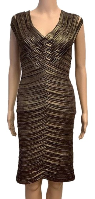 Item - Metallic Bronze Collection Evening 18748 Mid-length Cocktail Dress Size 4 (S)