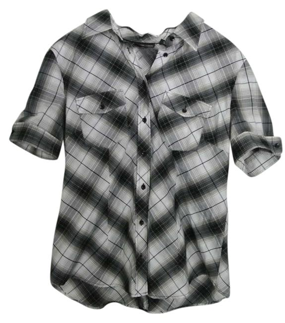New York & Company Button Down Shirt Black and white with silver accents