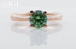 14k Red Gold Diamond 0.8 Ct Tcw 0.8 Fancy Vivid Green/Vs1 Round Brilliant Very Engagement Ring