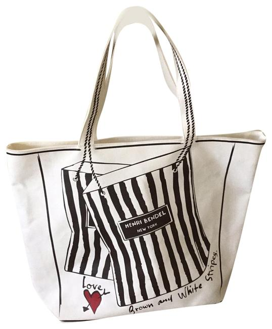 Item - Off-white with Brown Canvas Tote