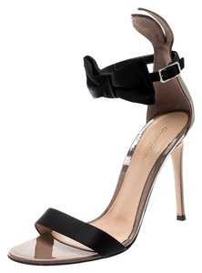 Gianvito Rossi Patent Leather Satin Ankle Strap Brown Sandals