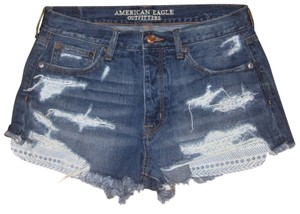 American Eagle Outfitters Highriseshorts Cutoffshorts Cut Off Shorts Blue