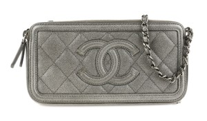 Chanel Quilted Grey Clutch