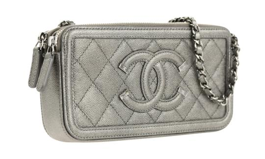 Chanel Quilted Grey Clutch Image 1