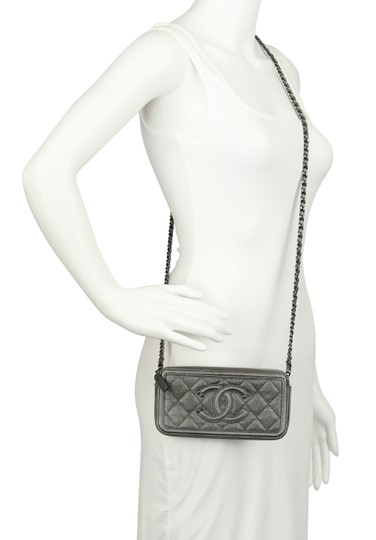 Chanel Quilted Grey Clutch Image 11