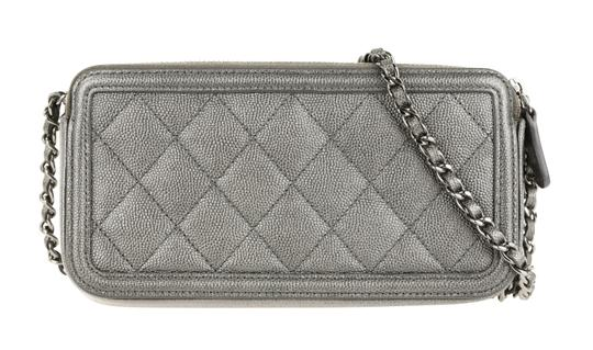 Chanel Quilted Grey Clutch Image 2