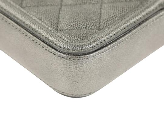 Chanel Quilted Grey Clutch Image 3