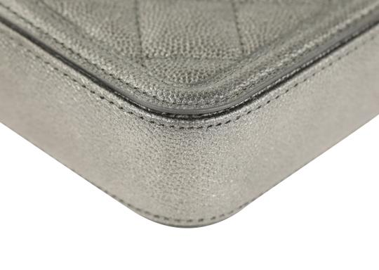 Chanel Quilted Grey Clutch Image 5