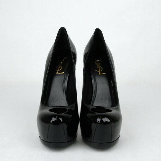 Saint Laurent Patent Leather Platform Heel Black Pumps Image 2