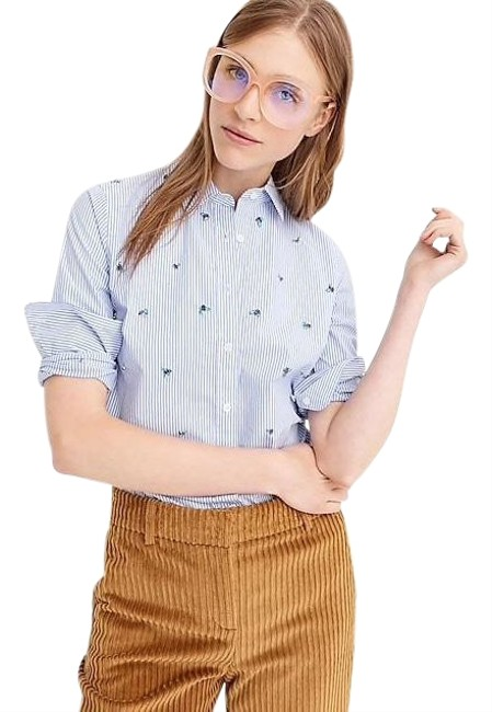 Preload https://img-static.tradesy.com/item/25679264/jcrew-blue-embellished-slim-stretch-perfect-shirt-button-down-top-size-6-s-0-1-650-650.jpg
