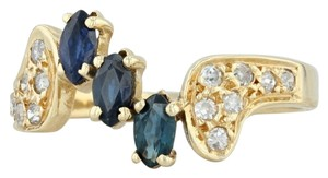 Other .71ctw Sapphire & Diamond Bypass Ring - 18k Yellow Gold Size 7.5