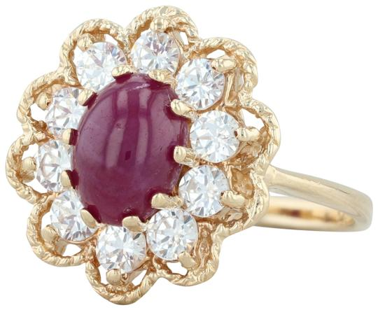 Preload https://img-static.tradesy.com/item/25679362/yellow-gold-ruby-and-cz-halo-flower-14k-size-65-floral-cocktail-ring-0-1-540-540.jpg