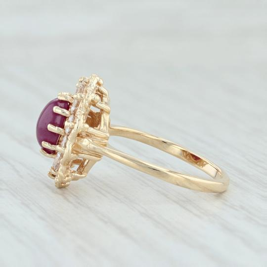 Other Ruby & CZ Halo Flower Ring - 14k Yellow Gold Size 6.5 Floral Cocktail Image 2