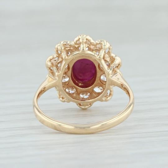 Other Ruby & CZ Halo Flower Ring - 14k Yellow Gold Size 6.5 Floral Cocktail Image 3