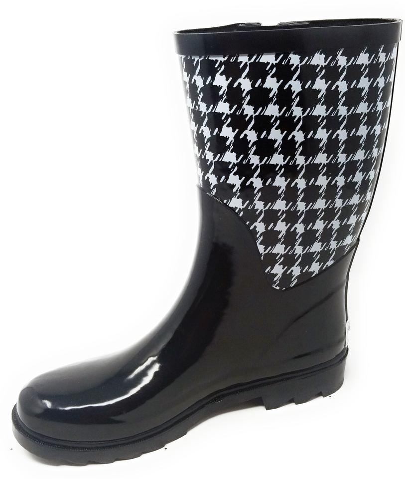 3cc22fdb292dc Forever Young Houndsthooth Rb-5508 Women's Mid Calf Rubber Rain Boots /Booties
