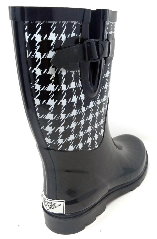 34e471b6c1d01 Forever Young Rainboots Rain Midcalf Galoshes Wellies Houndsthooth Boots  Image 3. 1234