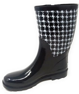 Forever Young Rainboots Rain Midcalf Galoshes Wellies Houndsthooth Boots
