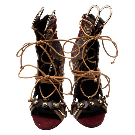 Dsquared2 Suede Leather Studded Multicolor Sandals Image 3