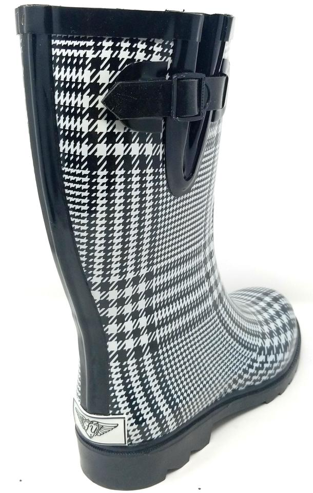 6c22e225c681d Forever Young Rainboots Rain Midcalf Galoshes Wellies Black & White Plaid  Boots Image 3. 1234