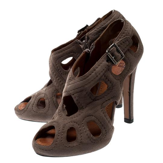 Givenchy Suede Peep Toe Leather Brown Boots Image 2