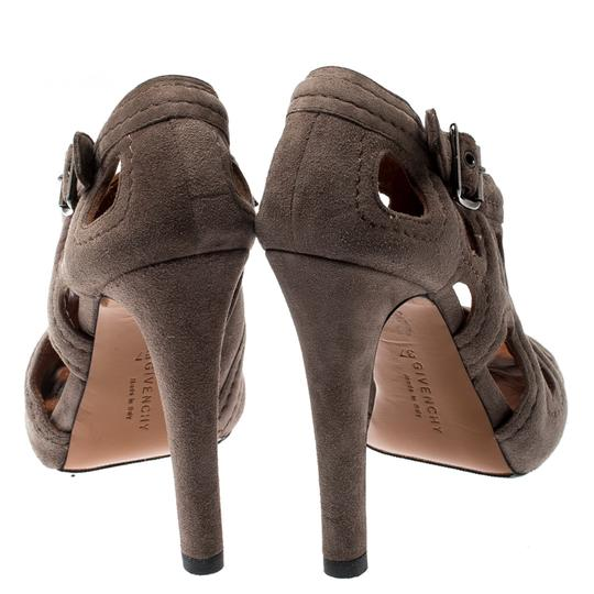 Givenchy Suede Peep Toe Leather Brown Boots Image 4