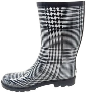 Forever Young Rainboots Rain Midcalf Galoshes Wellies Black & White Plaid Boots