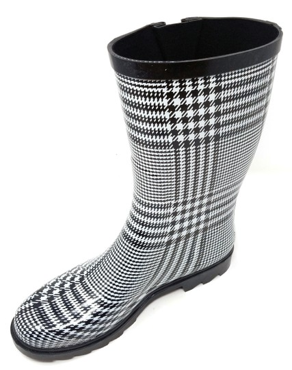 Forever Young Rainboots Rain Midcalf Galoshes Wellies Black & White Plaid Boots Image 2