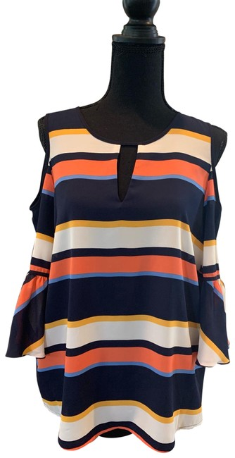 Preload https://img-static.tradesy.com/item/25679427/karl-lagerfeld-blueorangemulti-striped-multicolored-blouse-size-8-m-0-1-650-650.jpg