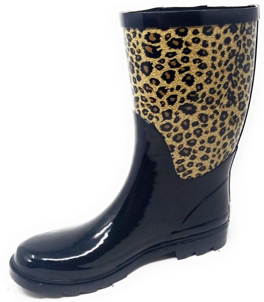 1d632a5c0ad Forever Young Black & Leopard Rb-5510 Women's Mid Calf Rubber Rain  Boots/Booties Size US 7 Regular (M, B) 40% off retail