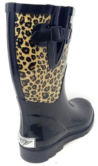 Forever Young Rainboots Rain Midcalf Galoshes Wellies Black & Leopard Boots Image 1