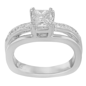 Rachel Koen Princess Cut Diamond Accented Ladies Engagement Ring 1.36 Cts