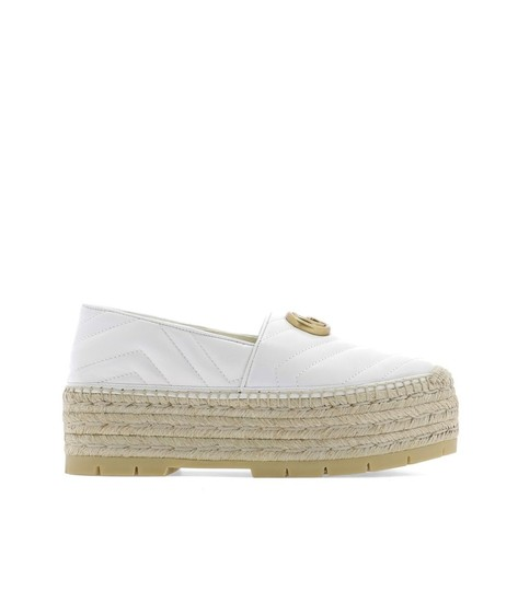 Gucci Gg Espadrille Double G White Platforms Image 1