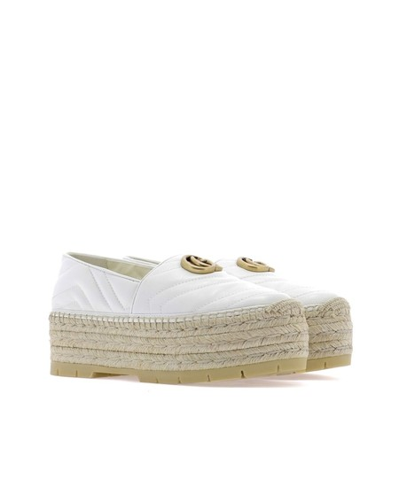 Gucci Gg Espadrille Double G White Platforms Image 2