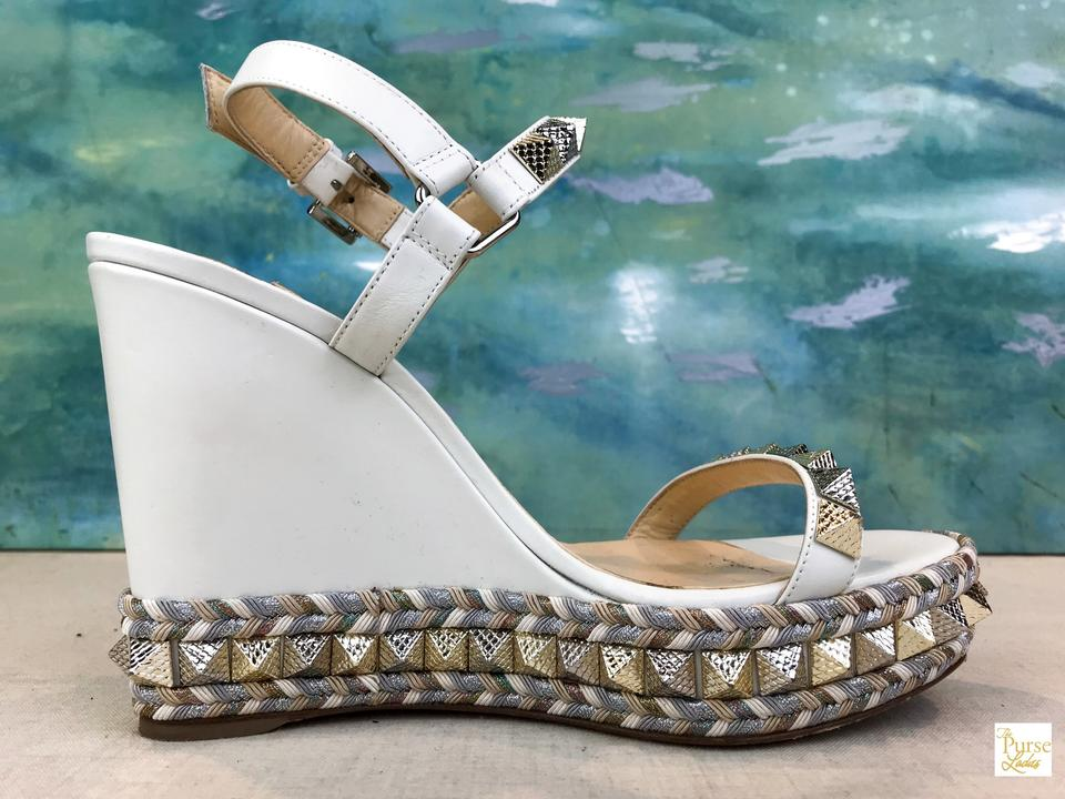 34cba22a5aa Christian Louboutin White Leather Cataclou Stud Wedges Size EU 40 (Approx.  US 10) Regular (M, B) 46% off retail