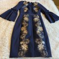 Ted Baker Bell Sleeve Fluted Embroider Midi Party Dress Image 3