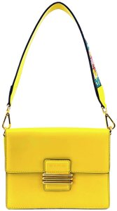 Etro Bold Bright Gold Leather Eclectic Shoulder Bag