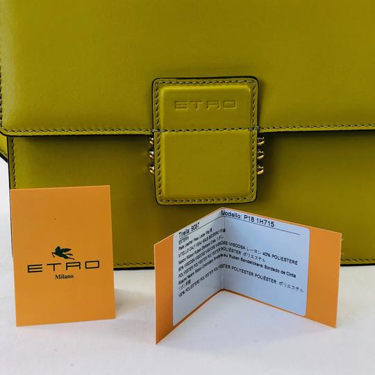 Etro Bold Bright Gold Leather Eclectic Shoulder Bag Image 9