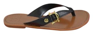 Tory Burch Nora Thong Slip On Black Sandals