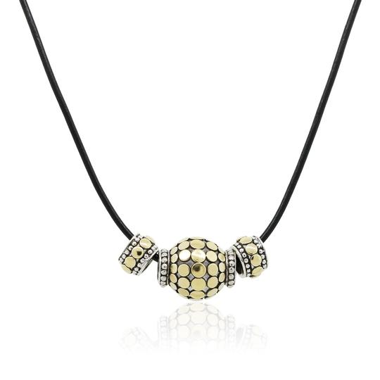 Preload https://img-static.tradesy.com/item/25679975/john-hardy-yellow-black-white-gold-and-sterling-silver-beads-on-leather-strand-necklace-0-0-540-540.jpg