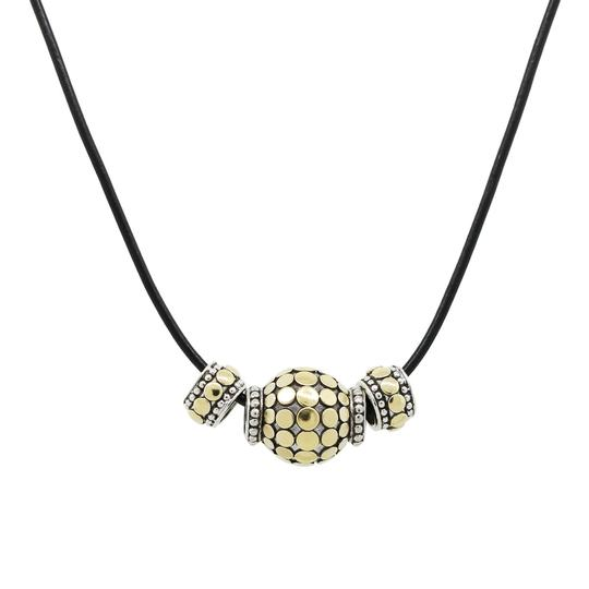 John Hardy John Hardy Gold and Sterling Silver Beads On Leather Strand Necklace Image 1