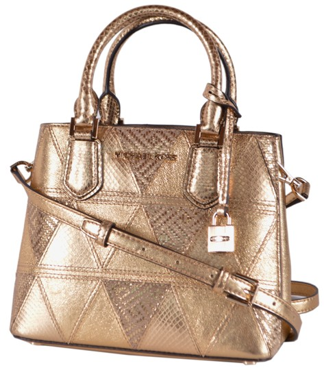 Preload https://img-static.tradesy.com/item/25679990/michael-michael-kors-new-embossed-geo-print-adele-purse-tote-gold-leather-cross-body-bag-0-1-540-540.jpg